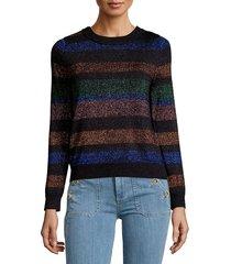 lea & viola women's striped sweater - black stripe - size s