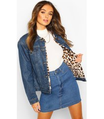 faux leopard fur jean jacket, mid blue