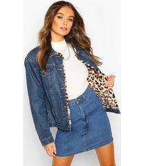 faux leopard fur jean jacket, mid blue