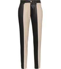 blindness striped faux-leather trousers - black