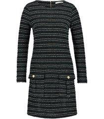 bouclã© jurk met lurex details lizzy  zwart