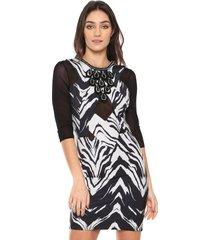 vestido lança perfume curto pedraria branco/preto