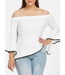 plus size off shoulder bell sleeve asymmetric t-shirt