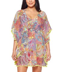 bleu by rod beattie pompom trim cover-up, size small in multi at nordstrom
