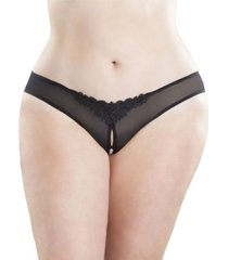 plus size crotchless thong with faux-pearls