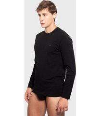 camiseta palmers  m/l c/r jersey algodón negro - calce ajustado