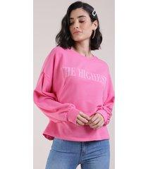"""blusão em moletom feminino """"the highest"""" pink"""