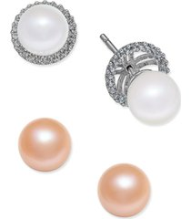 6-pc. set white and pink cultured freshwater pearl (7mm) stud earrings with interchangeable diamond (1/5 ct. t.w.) earring jacket in 14k white gold