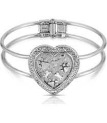 2028 pewter heart paws and bones cuff bracelet