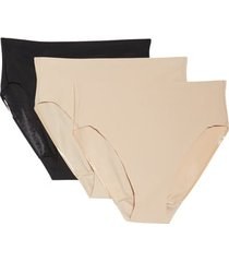 tc 3-pack matte micro high cut panties, size small in nude/black at nordstrom