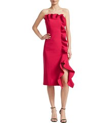 selma strapless ruffled sheath dress