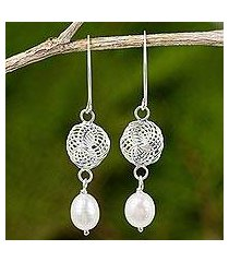 cultured pearl and sterling silver dangle earrings, 'snowfall in white' (thailand)