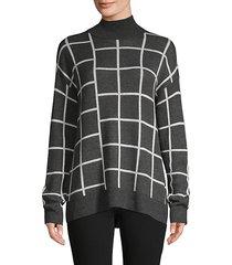 spliced plaid turtleneck sweater