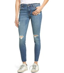 women's hidden jeans classic ripped ankle skinny jeans, size 27 - blue