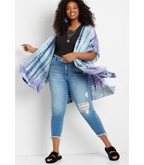 maurices plus size womens blue & purple tie dye kimono gray