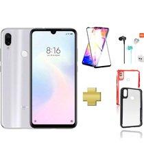 celular xiaomi redmi note 7 128gb blanco + protector pantalla+audifonos+acrilico ipaky