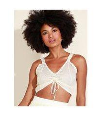 top cropped de tricô feminino com lurex e amarração alça larga decote v off white