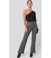trendyol black plaid knitted trousers - grey