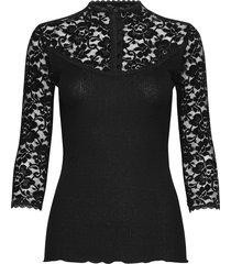 silk t-shirt regular 3/4 s w/lace t-shirts & tops long-sleeved svart rosemunde