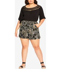 city chic trendy plus size etched frond shorts