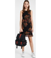 floral dress - black - xl