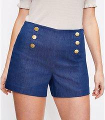 loft curvy admiral shorts in refined denim