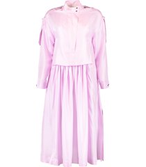 zip collared pleated skirt dress