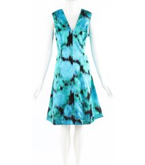 lela rose green black printed silk sleeveless dress black/green sz: l