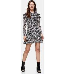 black and white long sleeve mesh ruffle mini dress - monochrome