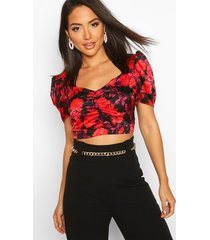 satin jacquard puff sleeve wrap blouse, red