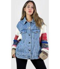 chaqueta mujer oversize celeste enigmática boutique
