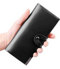 billetera,  larga de cuero verde con botones brillante-negro
