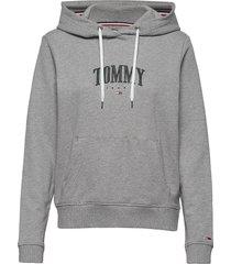 tjw essential logo hoodie hoodie grå tommy jeans