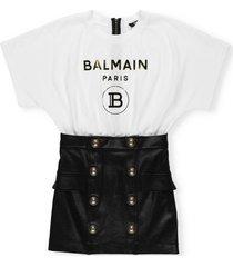 balmain contrast panelled dress