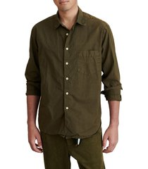 alex mill easy cotton button-up shirt, size medium in military olive at nordstrom