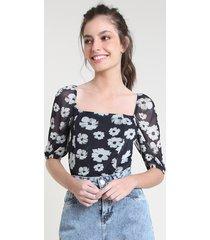 blusa feminina mindset estampada floral em tule manga curta decote reto preta