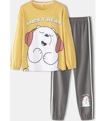 donna cartoon bear modello camicetta con stampa a lettere elastico in vita jogger pantaloni pigiama da casa