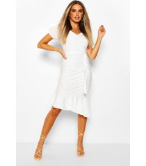 broderie anglaise puff sleeve dress with tie belt, ivory