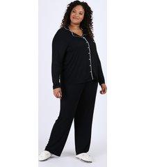 pijama feminino plus size camisa com vivo contrastante e bolso manga longa preto