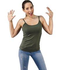 blusa dama tiras en jersey licra verde militar s bocared venus 272100014