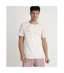 camiseta masculina degradê floral manga curta gola carecabranca