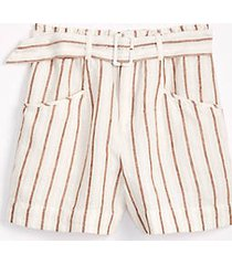 lou & grey striped belted linen shorts