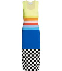 rainbow & check bodycon midi dress