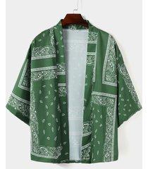 chaqueta de punto con estampado de paisley y abrigo holgado retro informal para hombre