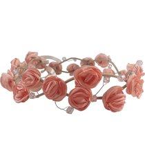headband fuxicos e frescuras coroa de rosas pêssego