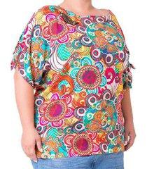 blusa casual aplicação de miçangas estampada plus size feminina