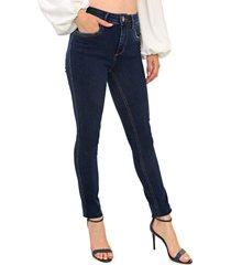 calça jeans my favorite thing(s) skinny pespontos azul-marinho