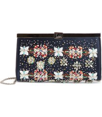christian louboutin small palmette beaded clutch - blue