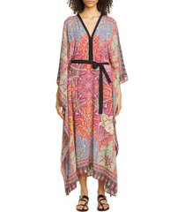 women's etro floral tie waist caftan cover-up, size small - red