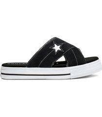 converse sandalias one star sin cordones black, white